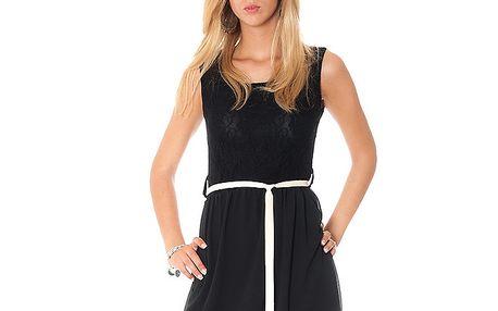 Dámske čierne šaty s mašľou Bella Rosa