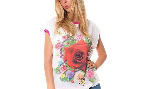 Dámské fuchsiové tričko s potiskem květin Bella Rosa