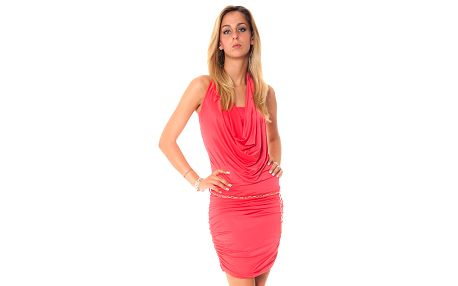 Dámske korálové krátké šaty s vodovým výstrihom Bella Rosa