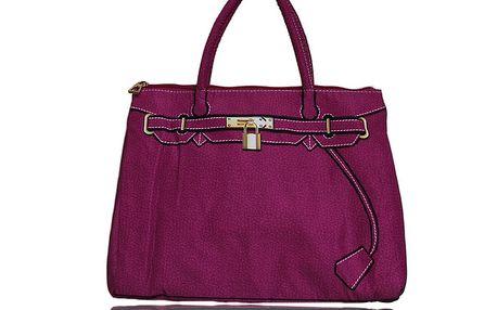 Dámska fuchsiová kabelka s potiskom zlatého zámčeku London Fashion