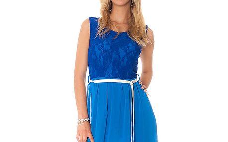 Dámske modré šaty s mašľou Bella Rosa