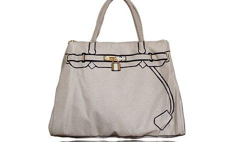 Dámska biela kabelka s potiskom zlatého zámčeku London Fashion