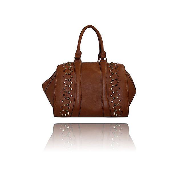 Dámska karamelovo hnedá kabelka s cvočkami London Fashion