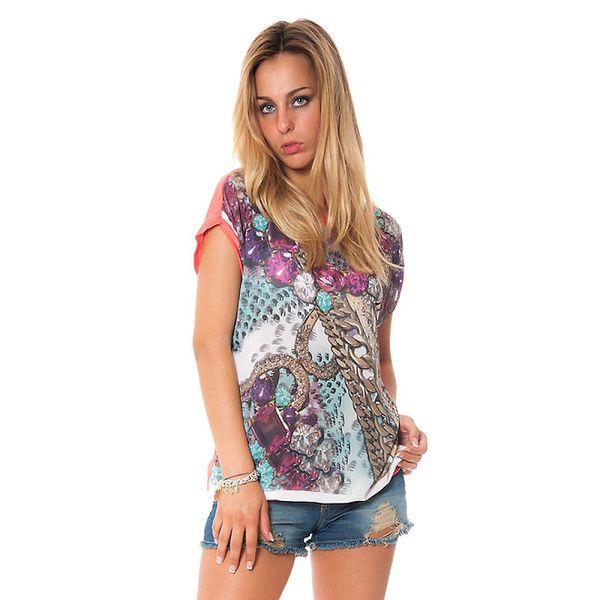 Dámské volné korálové tričko s potiskem šperků Bella Rosa
