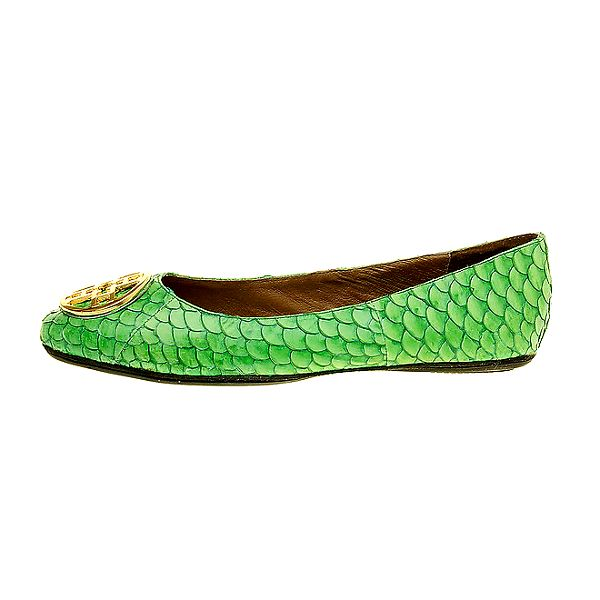 Dámské zelené hadí balerínky se zlatou sponou Hope