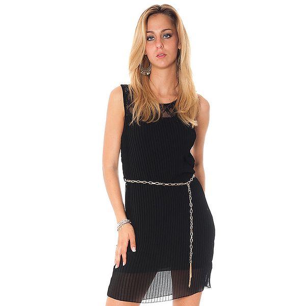 Dámske čierne plisované šaty Bella Rosa