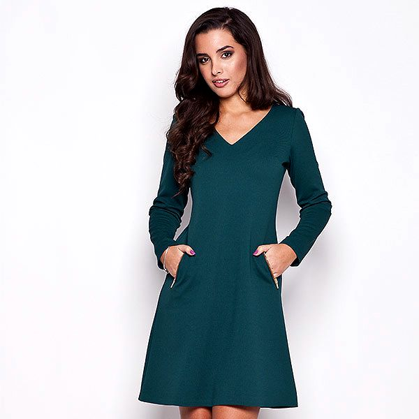 Dámské zelené šaty s kapsami na zip Katrus