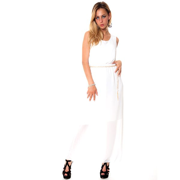 Dámske dlhé biele šaty Bella Rosa