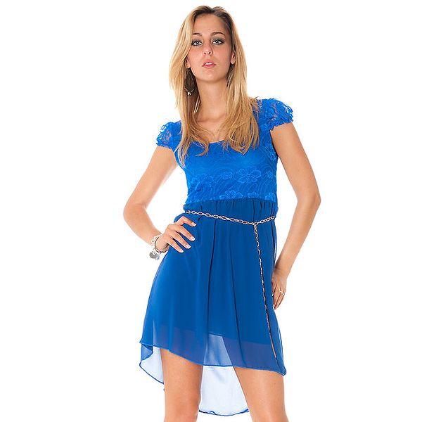 Dámské modré šaty s krajkovým horním dílem Bella Rosa