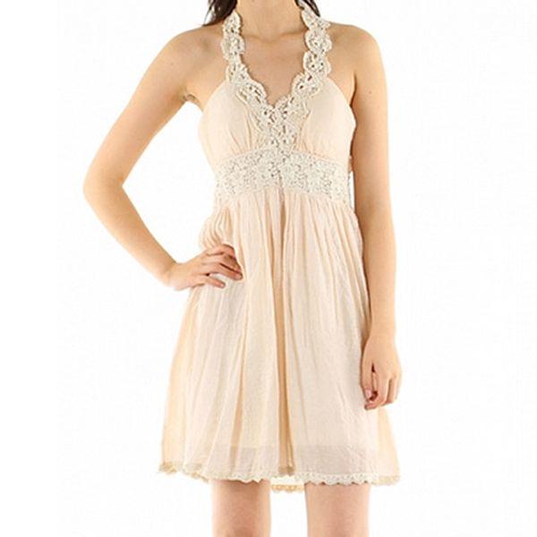Hedvábné béžové šaty Lucy Paris