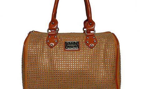 Dámská karamelová kabelka s kamínky Anna Smith