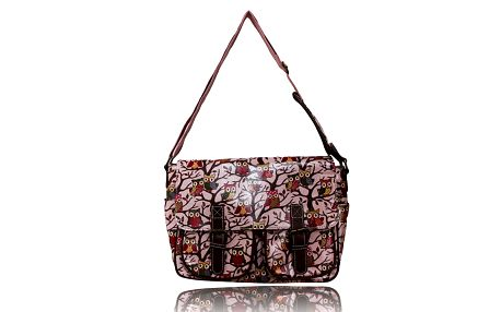 Dámská růžovo-hnědá kabelka se sovičkami Anna Smith