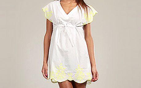 Bílá bavlněná tunika se žlutým potiskem
