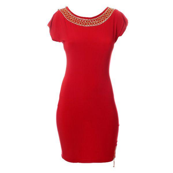Dámské sytě červené šaty Via Bellucci s řetízky