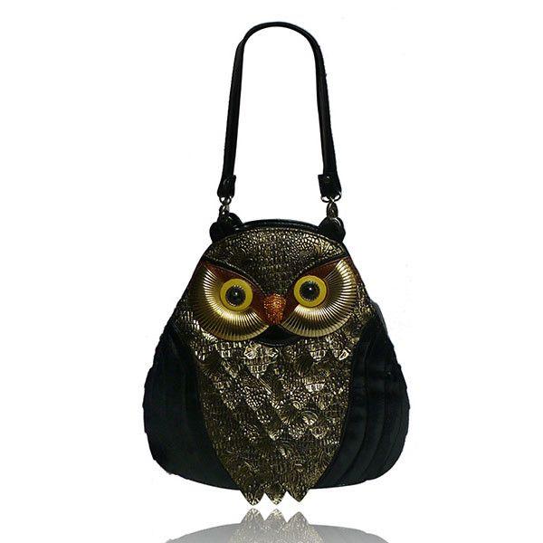 Dámská černá soví kabelka London Fashion