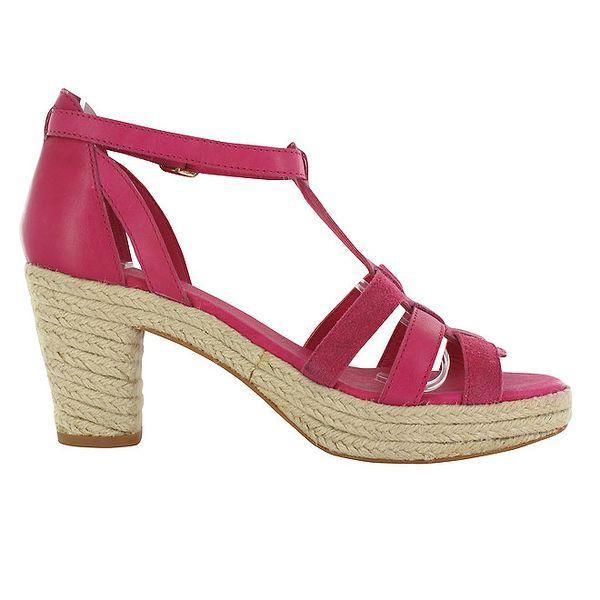 Dámské růžové sandály Flip Flop na vysokém jutovém klínku