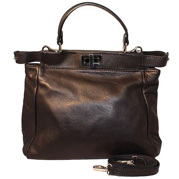 Černá kožená kabelka Fendi