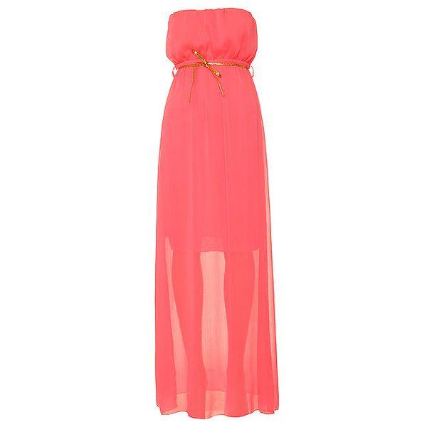 Dámské zářivě růžové šaty bez ramínek Liza Too