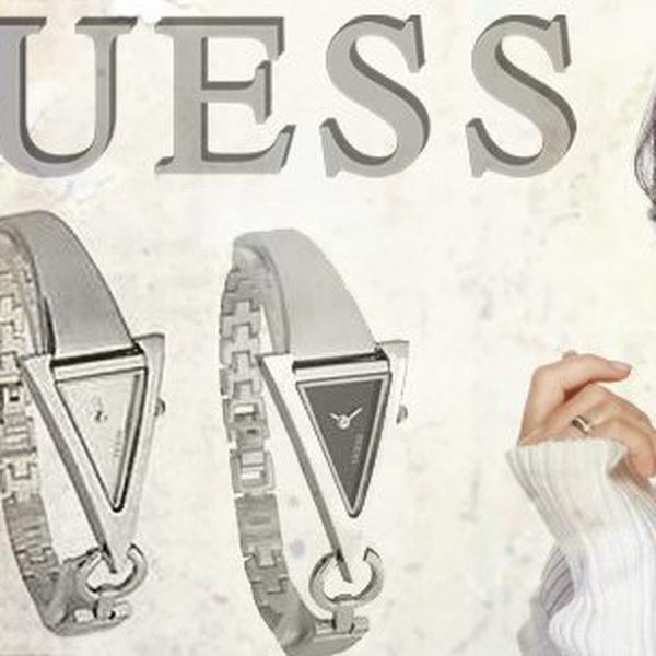 Luxusní dámské hodinky Guess z ušlechtilé oceli ve 2 barevných provedení s originálním ciferníkem ve tvaru trojúhelníku! Doručeny vám budou v originální dárkové krabičce = skvělé jako dárek!
