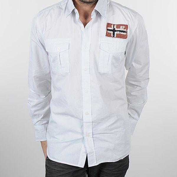Bílá pánská košile s náprsními kapsami