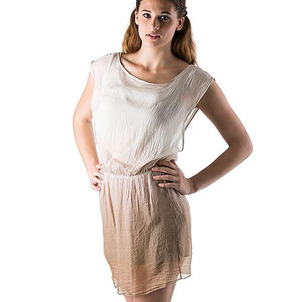 Hedvábné šaty béžovo-bílé