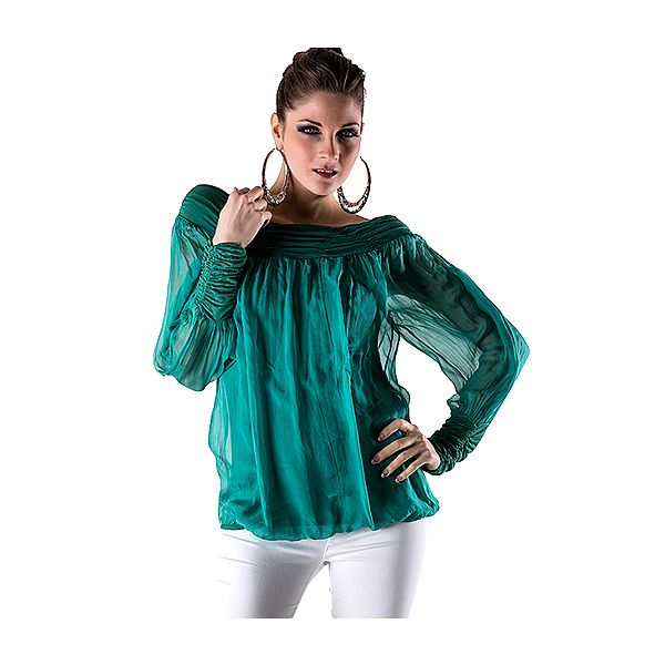 Hedvábná halenka s dlouhým rukávem smaragdová
