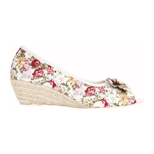 Dámské boty Urban na platformě béžové květinový vzor