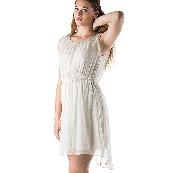 Hedvábné šaty krémové