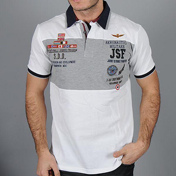 Bílo-šedá polo košile JSF
