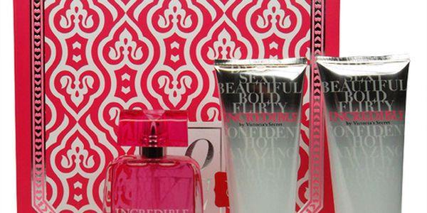 Victoria Secret Incredible parfémovaná voda dárková sada. Obsahuje Edp 50ml + 100ml tělové mléko + 100ml sprchový gel.