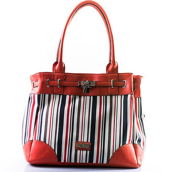 Červená proužkovaná kabelka se zámkem