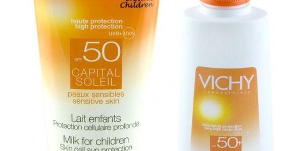Vichy Sada opalovacích krémů. Opalovací mléko Vichy Capital Soleil Milk pro děti SPF 50+