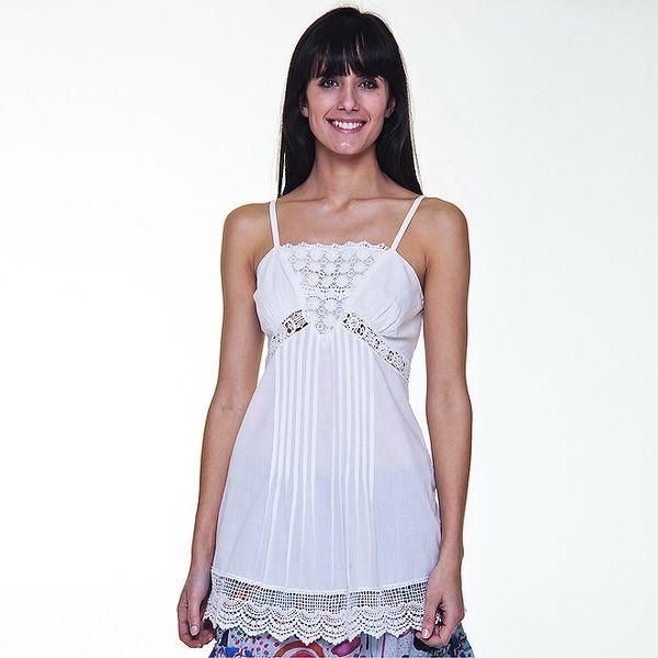 Dámské bílý romantický top s bavlněnou krajkou Kool