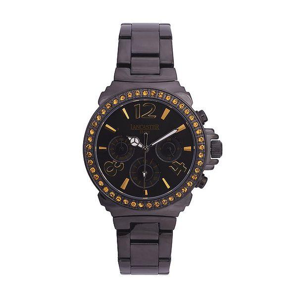 Dámské černé ocelové hodinky s oranžovými kamínky Lancaster