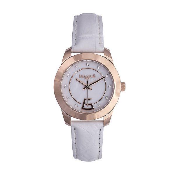 Dámské bílé analogové hodinky se Swarovski elementy Lancaster