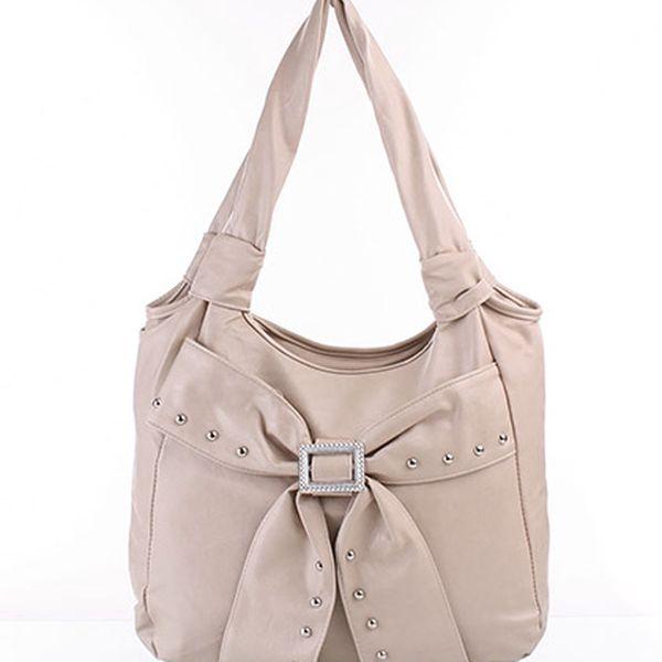 Krémová kabelka s mašlí