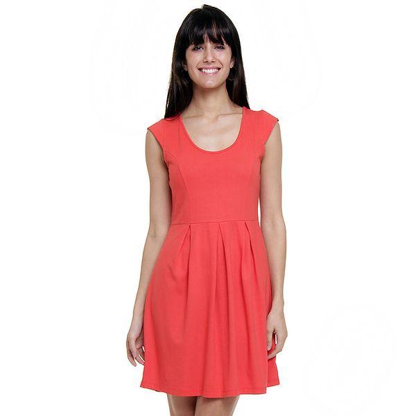 Dámské korálově červené šaty se sklady Kool