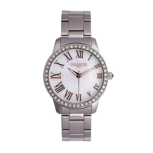 Dámské stříbrné hodinky s kamínky Lancaster