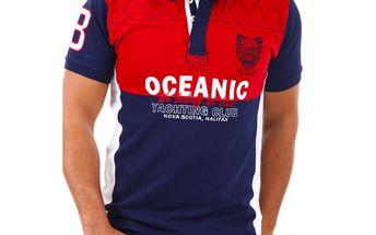 Pánské polo triko Selected tmavě modro-červené