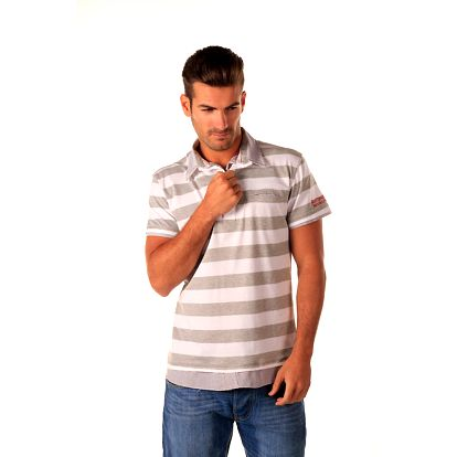 Pánské bílé polo tričko s šedými pruhy Celop