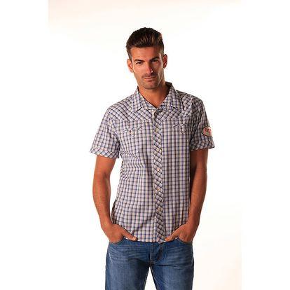 Pánská modrá károvaná košile s nášivkami Celop