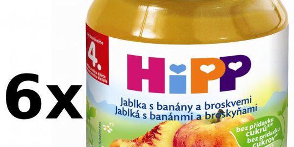 Ovocný příkrm HiPP Jablka s banány a broskvemi 6 x 125g