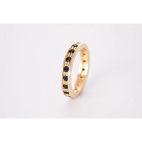 Dámský zlatý prsten s černými Swarowski krystaly Destellos