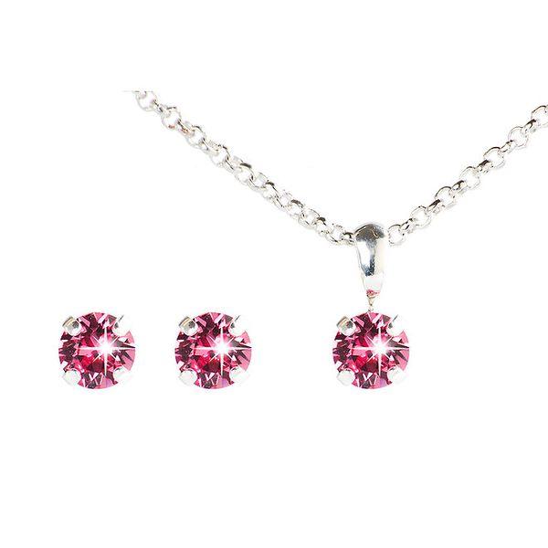Dámský růžový set náušnic a řetízku s krystaly Swarovski Destellos