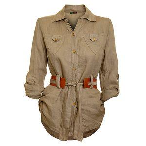 Dámská hnědo-béžová košile s karamelovým páskem Puro Lino