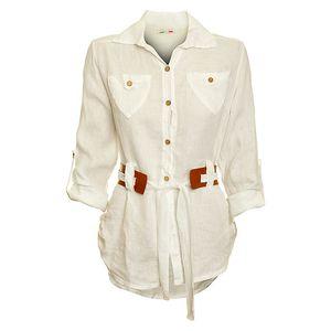 Dámská bílá košile s karamelovým páskem Puro Lino