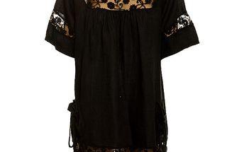 Dámská černá lněná tunika s krajkovými detaily Puro Lino