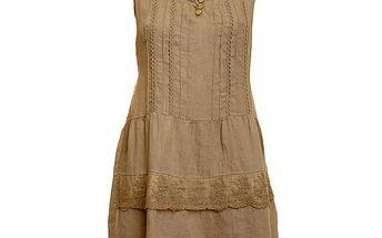 Dámské hnědo-béžové lněné šaty s krajkovým lemem Puro Lino