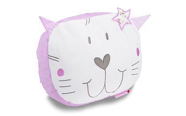Růžový polštářek kočka FLEUR