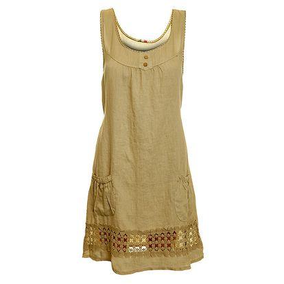 Dámské béžové lněné šaty s perforováním Puro Lino